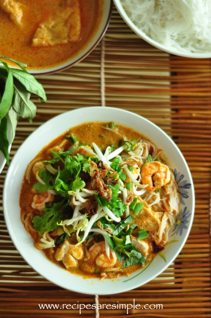 laksa1 680x1024 Malaysian Laksa Recipe Curried Noodle Soup with Prawns and Fresh Herbs