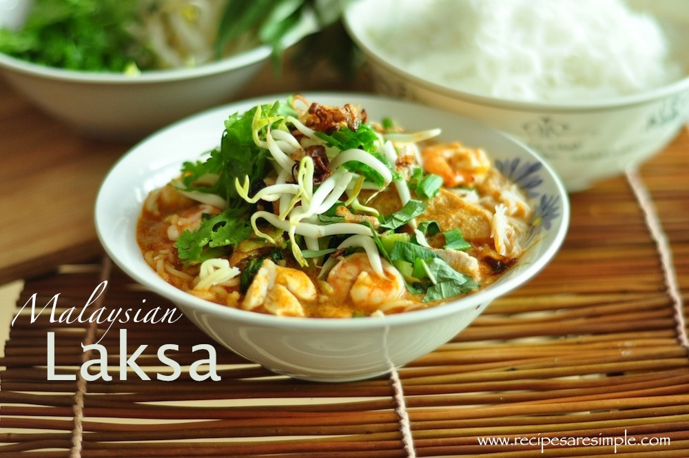 laksa2 Malaysian Laksa Recipe Curried Noodle Soup with Prawns and Fresh Herbs