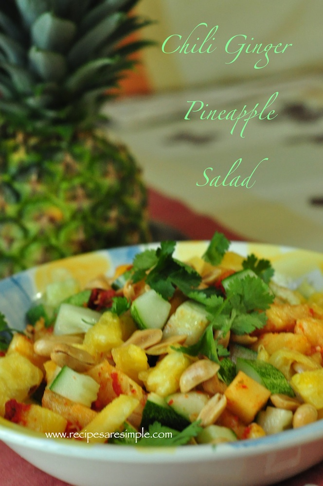 chili ginger pineapple salad Chili Ginger Pineapple Salad with Cucumber and Peanuts