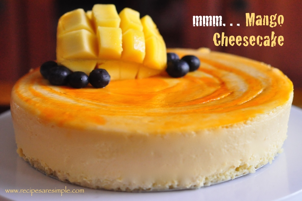 Mango Cheesecake with sponge cake base