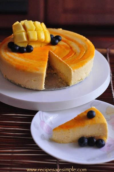 mango cheesecake with spongecake base recipe Mango Cheesecake with Sponge Base