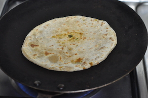 roast Aloo Paratha Stuffed Indian Flatbread with Cooked Potato Filling