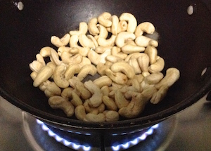 add raw cashews to pan Raw Cashew Nut Curry