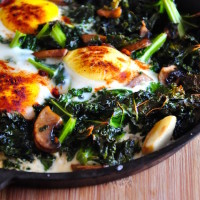 baked eggs and kale with mushroom 200x200 Baked Dishes