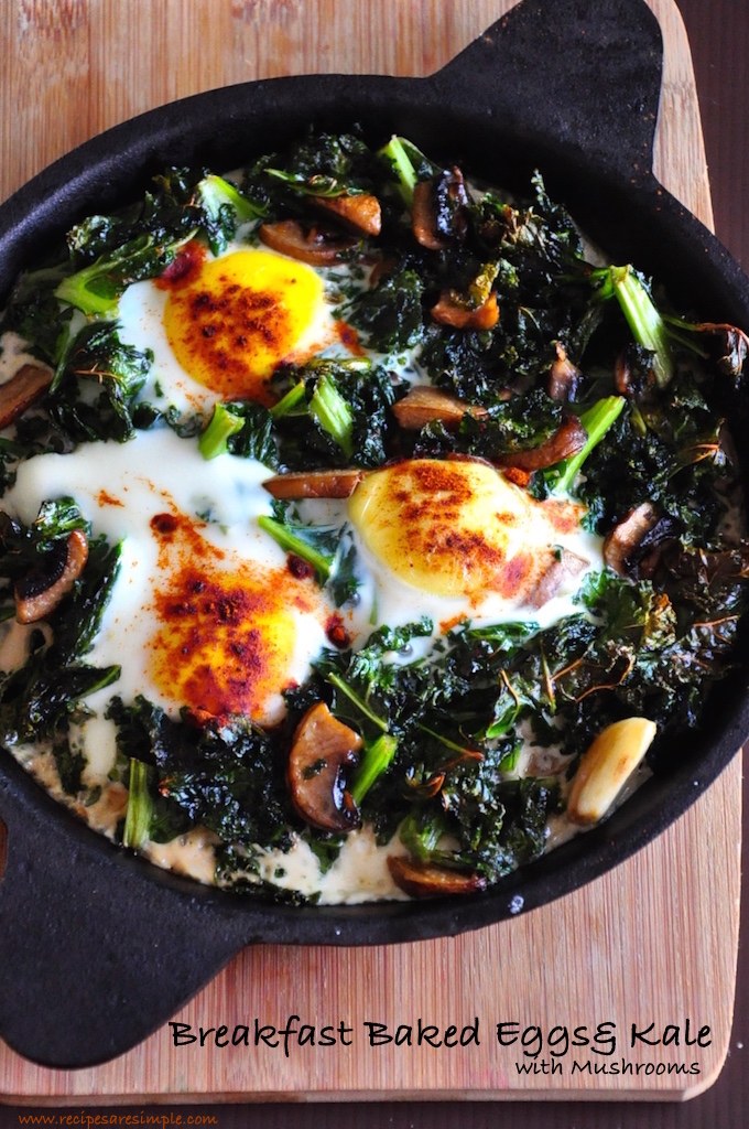 breakfast baked eggs and kale Baked Eggs and Kale with Mushrooms