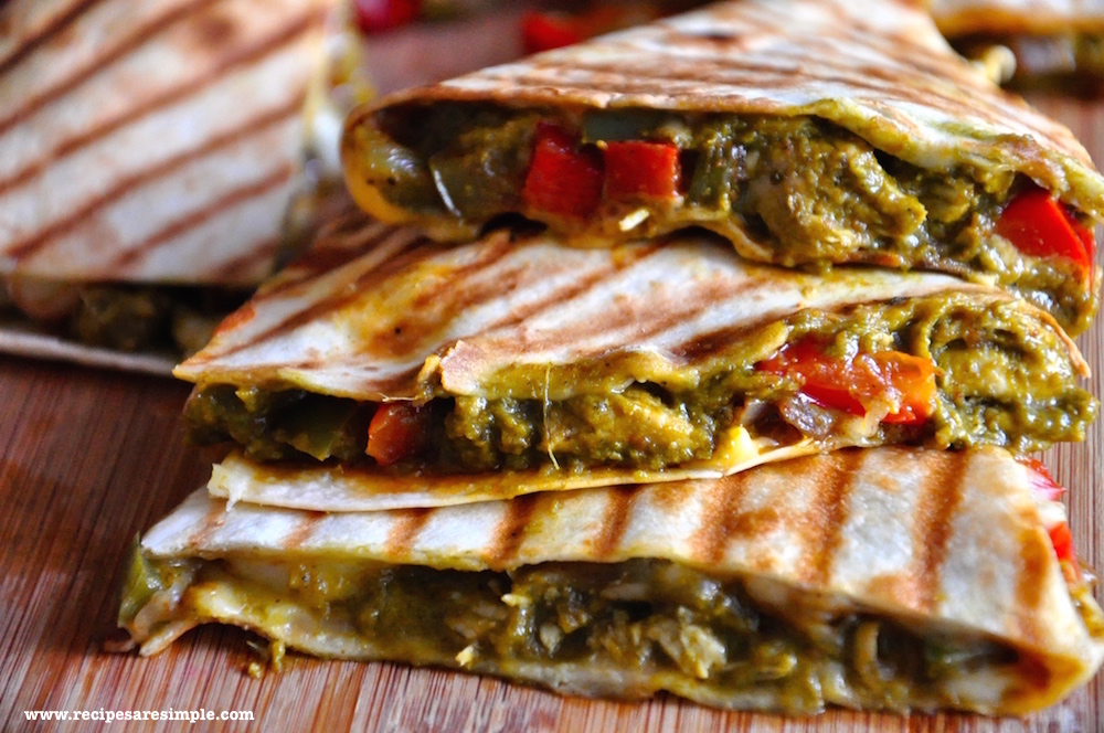 palak chicken recipe1 Palak Chicken Quesadilla Mexico meets India