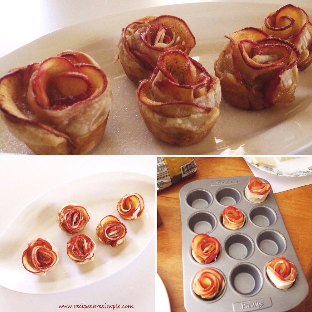 apple roses 3 Apple Roses Quick Dessert with Apple and Puff Pastry