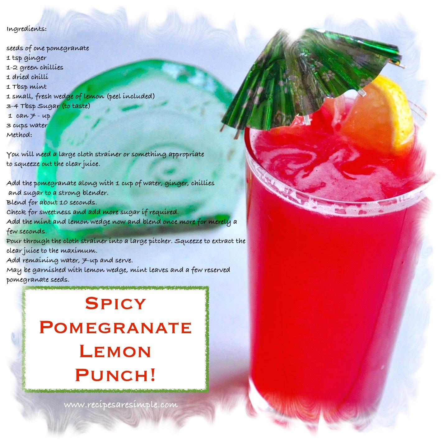 spicy pomegranate lemon punch recipe card Spicy Pomegranate Lemon Punch