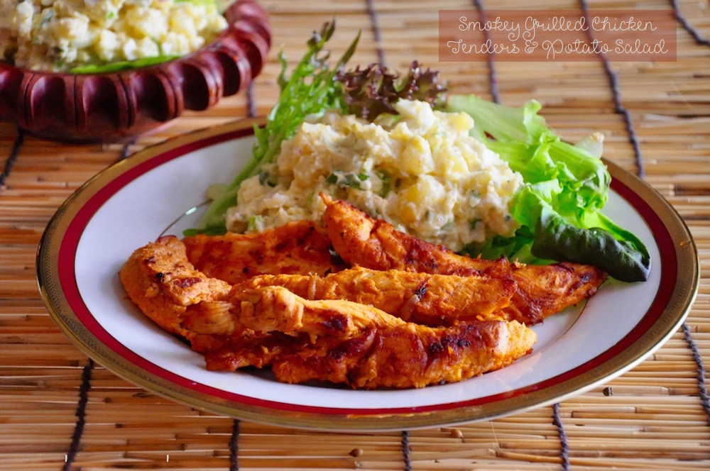 smoky grilled chicken tenders and potato salad Smoky Grilled Chicken Tenders with Potato Salad |Quick Meals