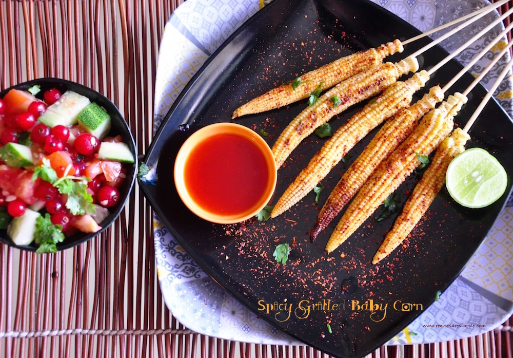 spicy grilled baby corn recipe Spicy Grilled Baby Corn on a Stick