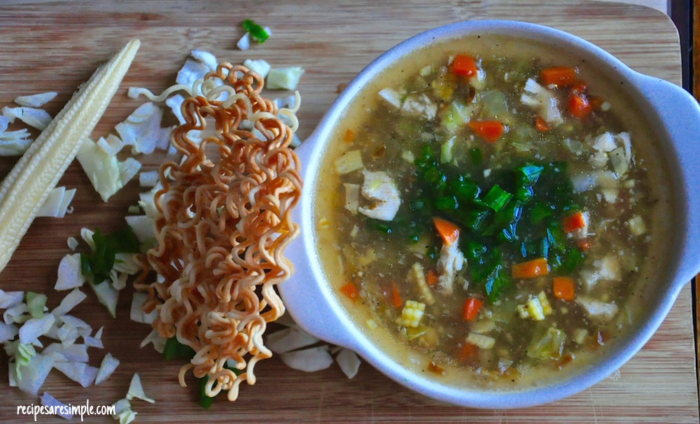 how to make Vegetable and Chicken Manchow Soup Vegetable and Chicken Manchow Soup